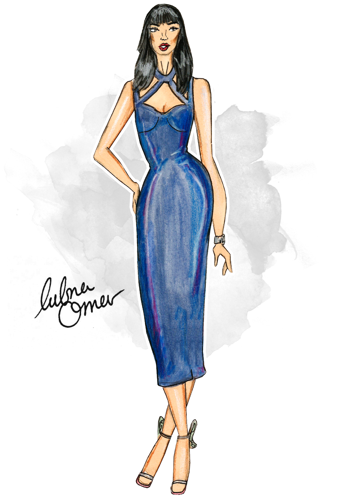 Micah Gianneli fashion illustration by Lubna Omar