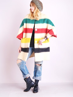 Vintage 1970's multi colored striped wool Hudson Bay coat with bracelet sleeves.