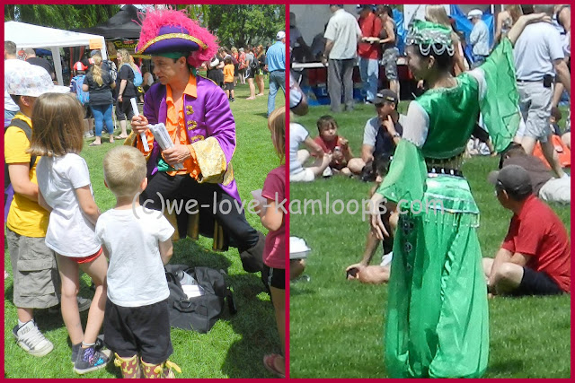 Costumed actors entertaining at Canada Day celebrations in Kamloops, BC