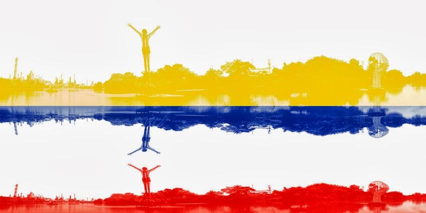 Bandera colombiana. Cristo Petrolero, Barrancabermeja       Colombia flag. Oil Christ, Barranca