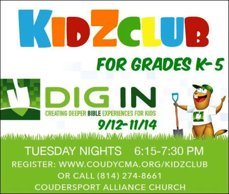Every Tuesday Night Kidz Club Coudersport