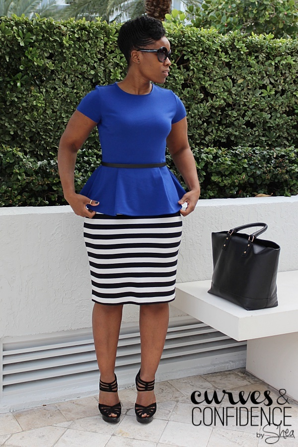 striped pencil skirt, how to wear a pencil skirt and peplum