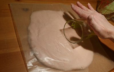 Easy way to roll out salt dough using wax paper and a glass