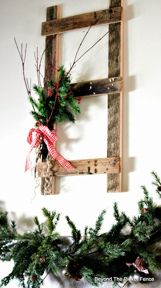12 Days of Christmas Day 6 Ladder decor http://bec4-beyondthepicketfence.blogspot.com/2014/11/12-days-of-christmas-day-6-ladder-decor.html