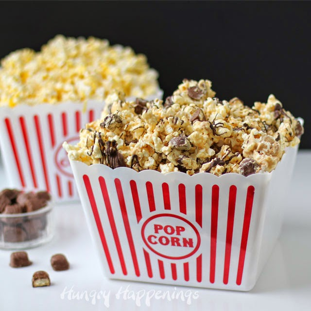 Peanut Butter Popcorn Speckled with Twix Bites