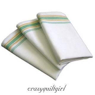 Aunt Martha's Vintage Style Green Stripe Kitchen Dish Tea Towels Set