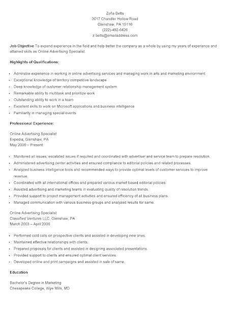 sample online advertising specialist resume