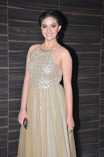 Keerthi Suregsh Super Cute Beauty in Backless Designer Gown at Nenu Sailaja audio release
