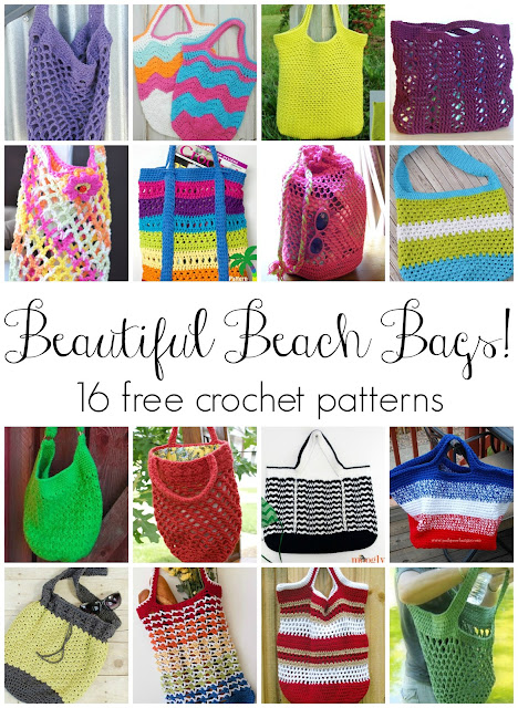 Free Crochet Pattern Beach Bag : Fiber Flux: Beautiful Beach Bags! 16 Free Crochet Patterns...