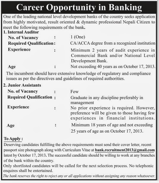 Bank Jobs In India Junior Assistant Posts In National Co: Career Opportunity In Banking