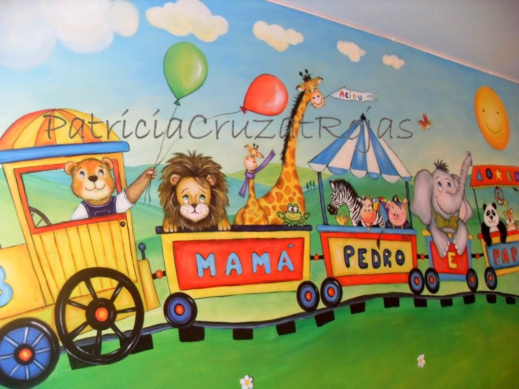 Patricia cruzat artesania y color mural infantil tren con - Mural pared infantil ...