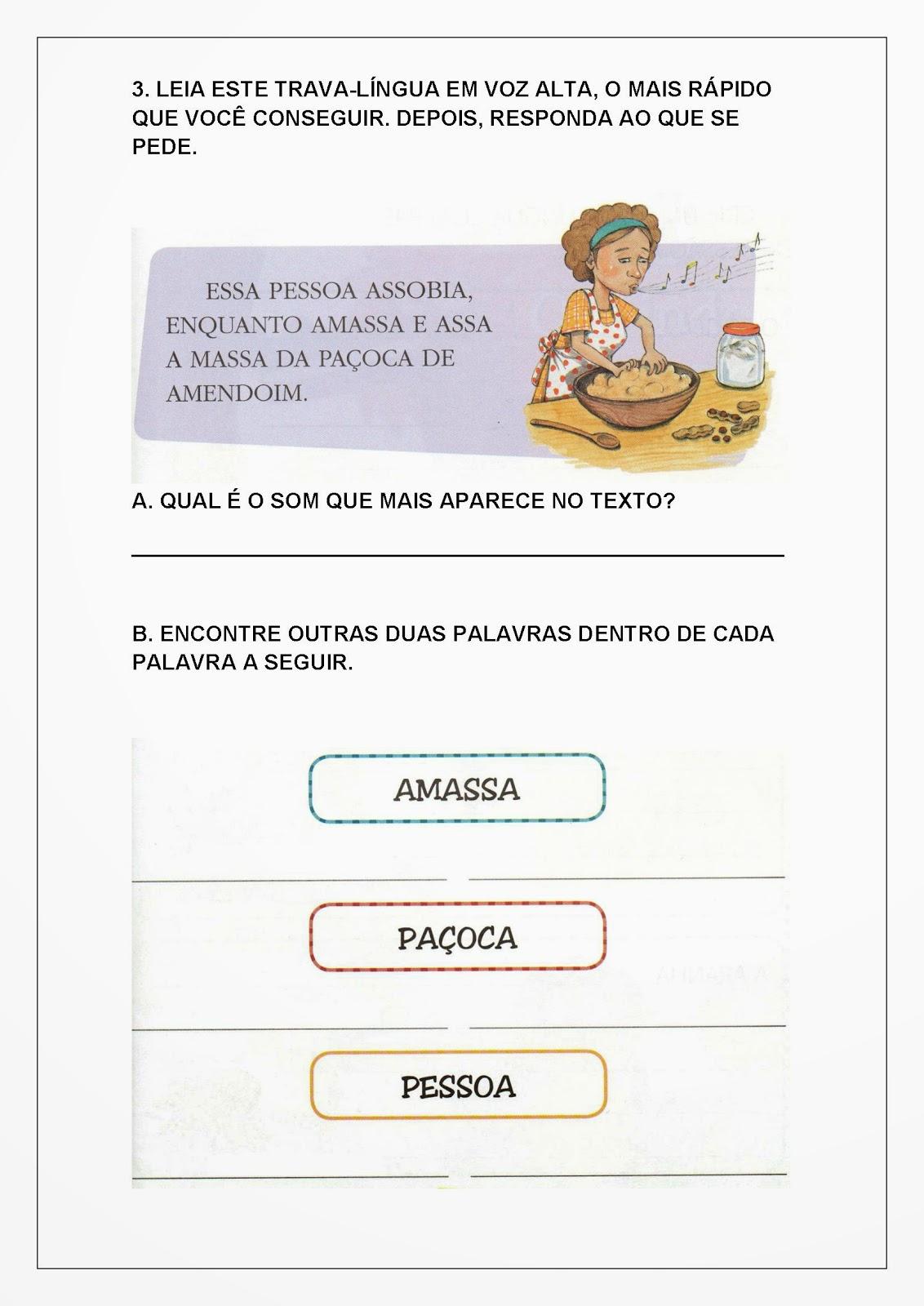 Atividades de Alfabetização para Imprimir - Trava-língua