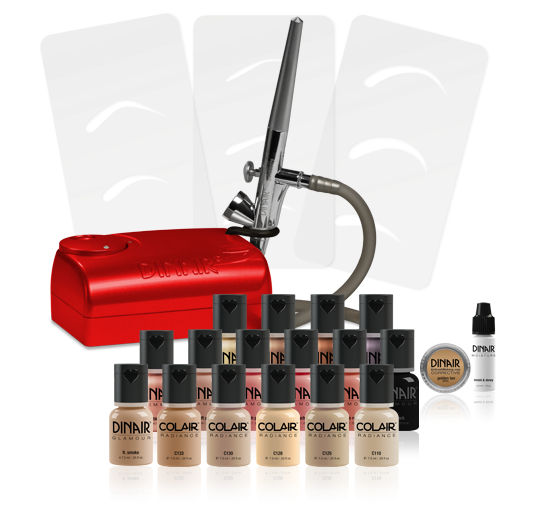 kit de maquillaje con aerografo dinair
