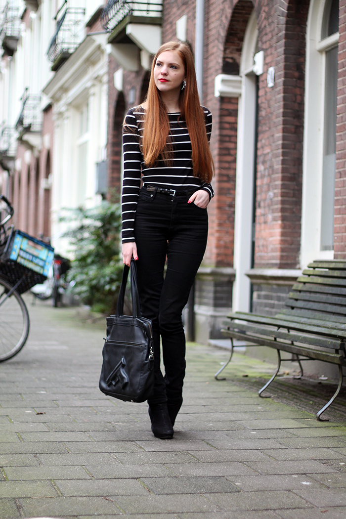 fashion blogger outfit uniform striped high waisted black amsterdam