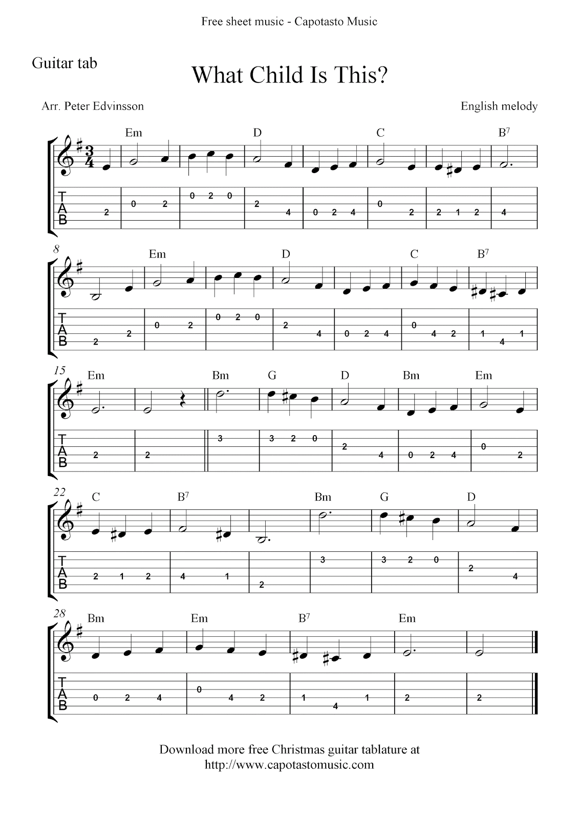 What Child Is This?, free Christmas guitar tab sheet music