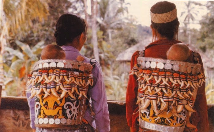 Dayak embellished baby carriers
