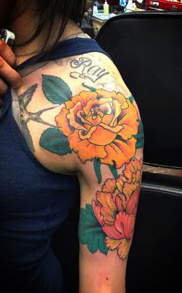 Floral should tattoo with roses by tattoo artist Jason Kunz for Triumph Tattoo