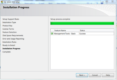 SSMS progress