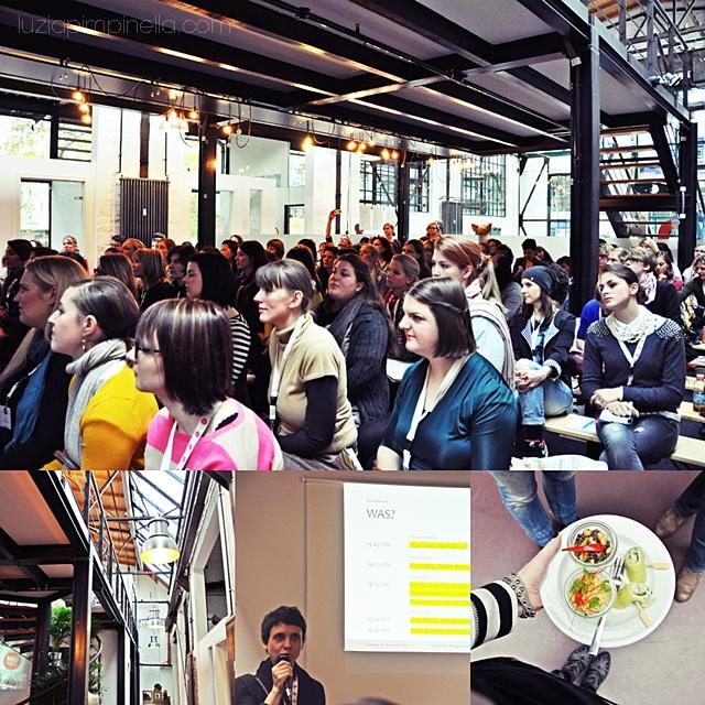 [ luzia pimpinella BLOG ] eine fotocollage mit bildern von der BLOGST blogger konferenz: publikum und vortrag von indre von mima sowie mittagsbuffet