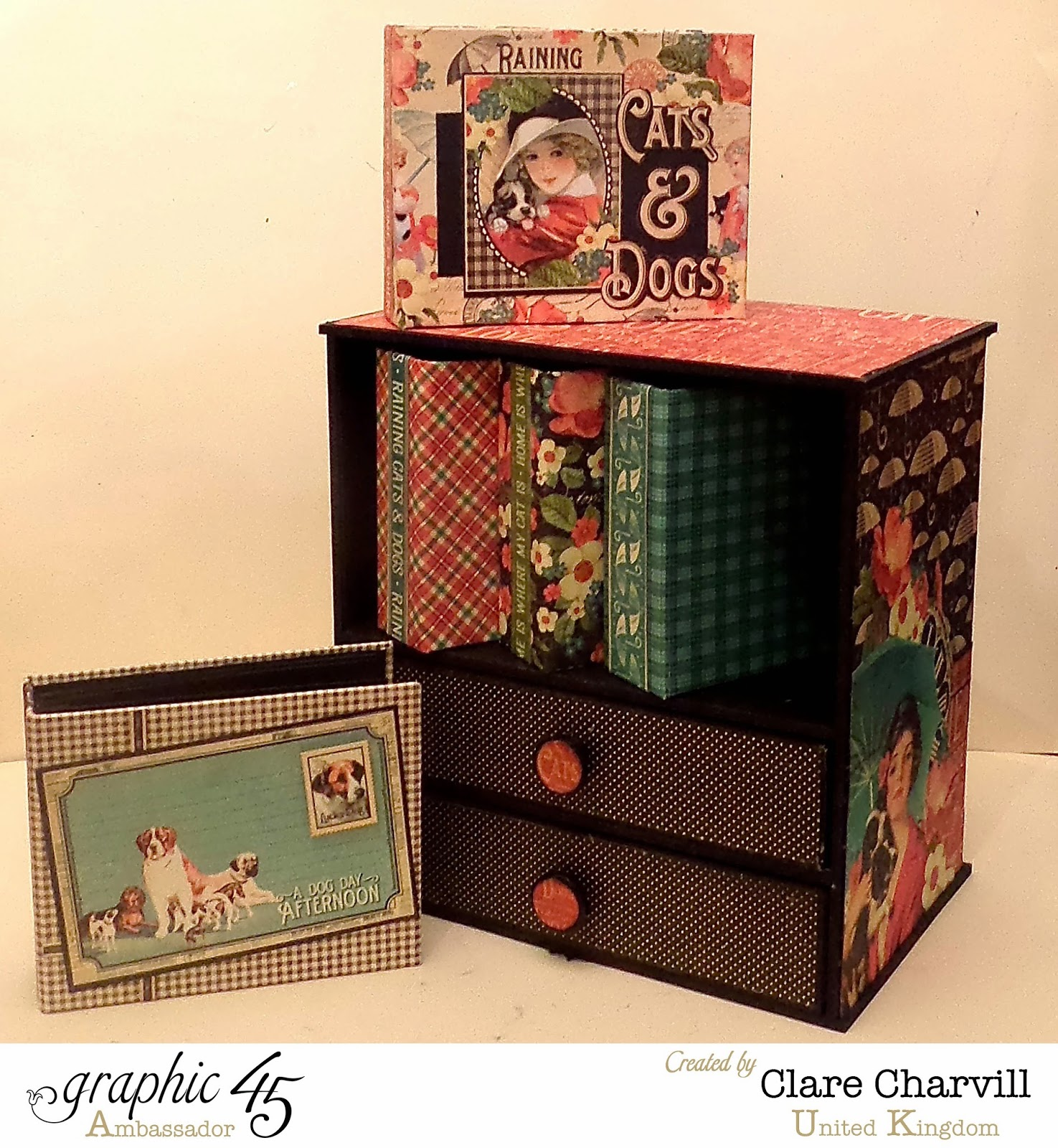 Mini Album and Drawer Combo designed and altered by Clare Charvill papers by Graphic 45