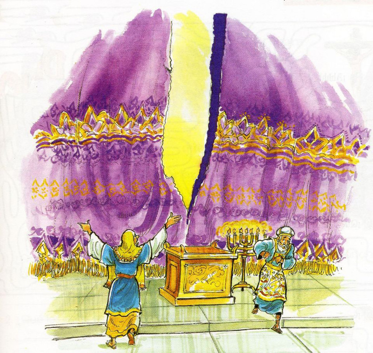 Imagen de la cortina del templo se razgo