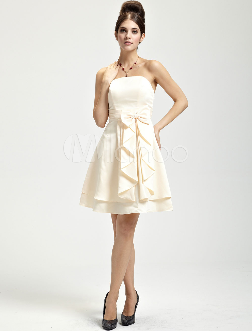 China Wholesale Dresses - Pretty Champagne Satin Strapless Knee Length Womens Cocktail Dress