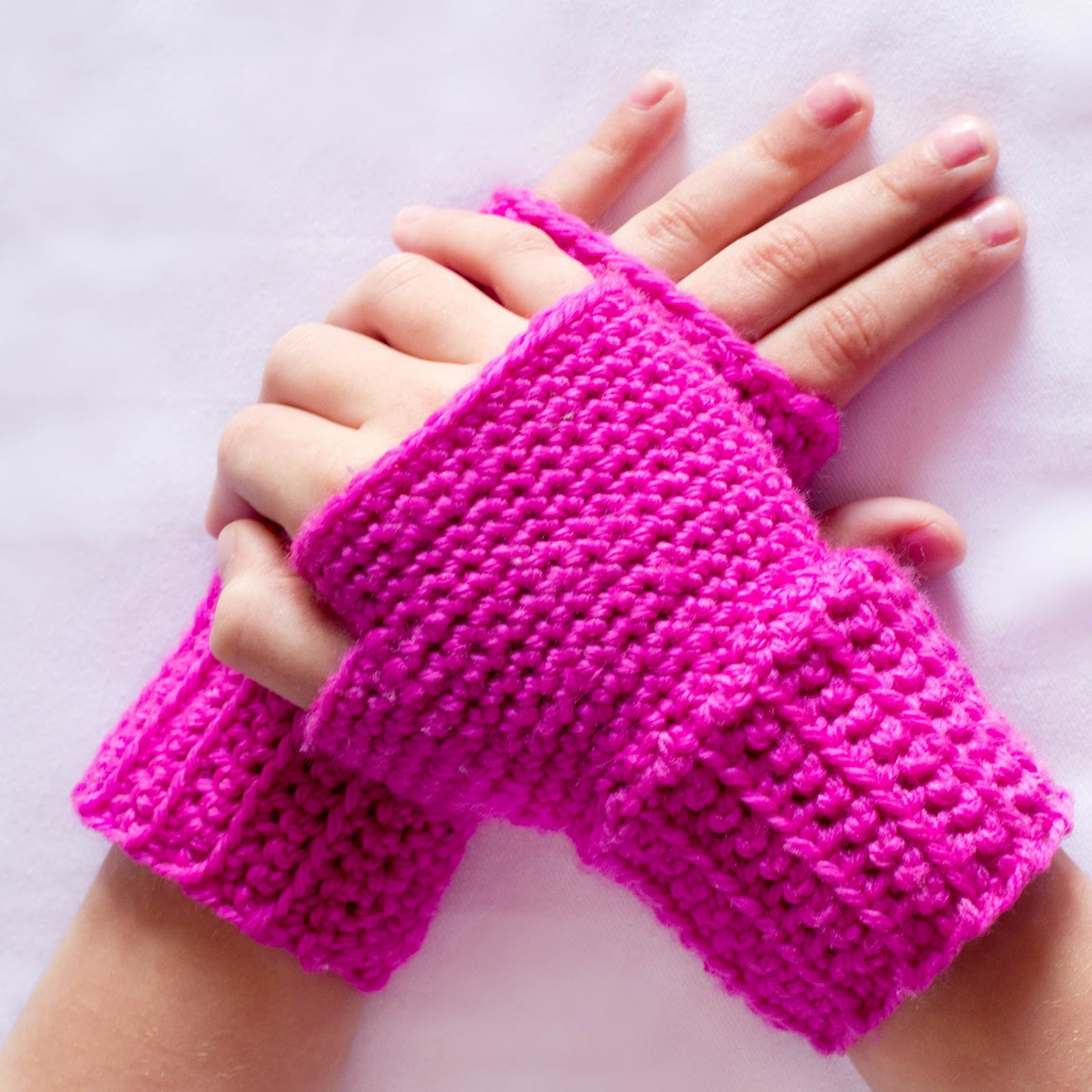 Crochet Gloves : ... Crochet, Create: Princess In Pink ~ Basic Fingerless Gloves Crochet