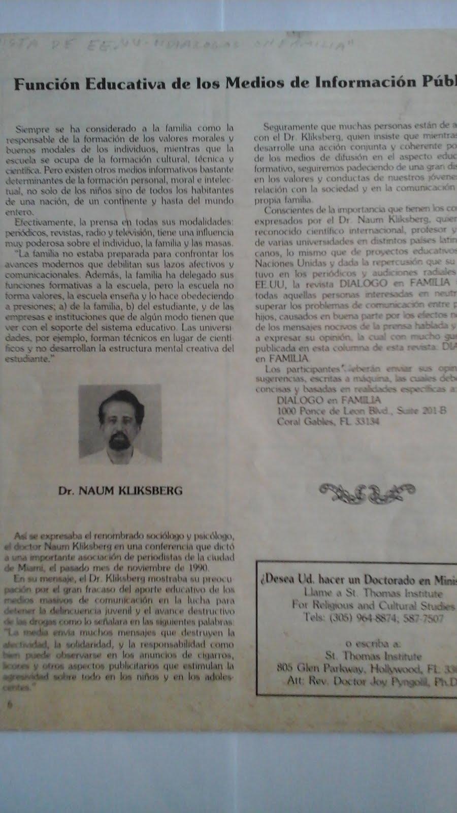 64 - REVISTA DIÁLOGOS EN FAMILIA, MIAMI, EEUU,2/1997. REPORTAJE A