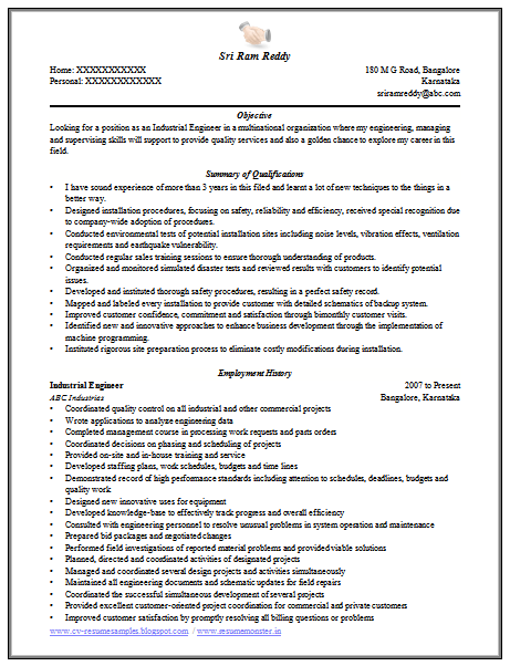 download now engineer resume format doc - Industrial Engineer Resume New Section