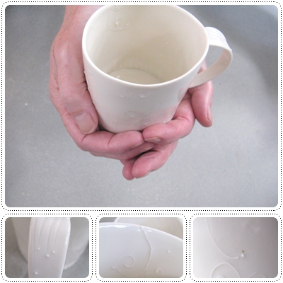 porcelain big handbuild mug - with subtle details