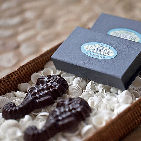 Beach Wedding Favor - Chocolate Seahorses in Custom Boxes