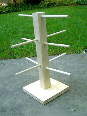 wood dowel tree for key fobs