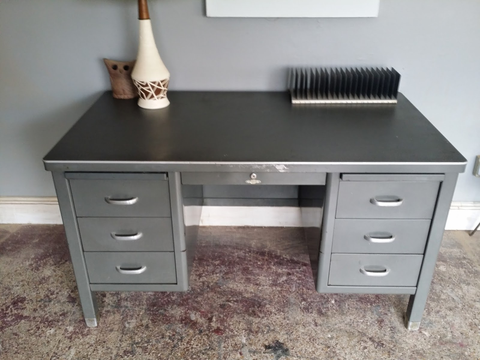 refinished tanker rehab desk acid patina in wash sold vintage