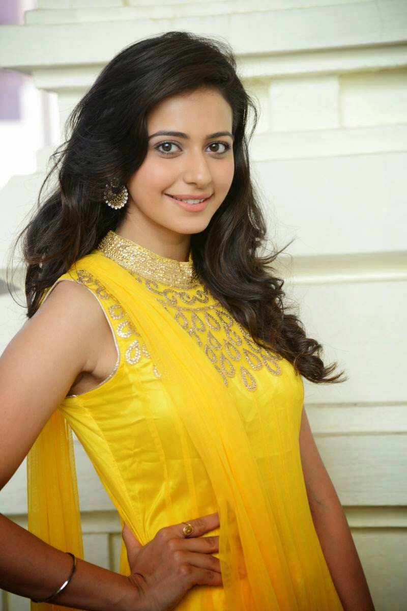 coogled actress rakul preet singh in cute yellow dress latest pictures. Black Bedroom Furniture Sets. Home Design Ideas