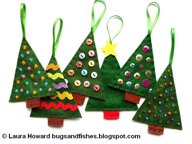 Bugs and fishes by lupin how to sew easy felt christmas - How to make felt christmas decorations ...