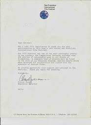 Carta del Presidente del Festival de Cine de San Francisco, California al Presidente del Cine Club.