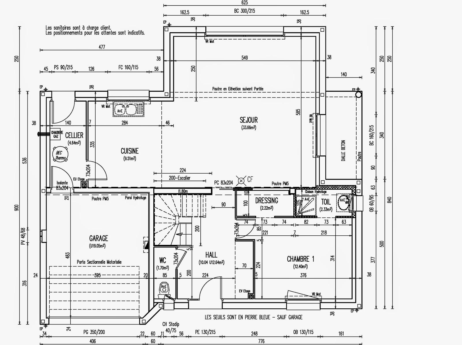Plan maison 1 chambre rdc for Plan maison avec combles