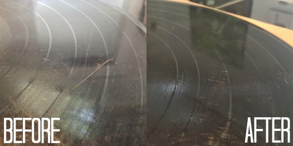 Cleaning vinyl records before and after photo