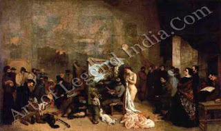 """The Great Artist Gustave Courbet Painting """"The Painter's Studio: A Real Allegory Summing up Seven Years of my Artistic and Moral Life"""" 1855 142"""" x 235 ¾"""" Musee d'Orsay, Paris"""