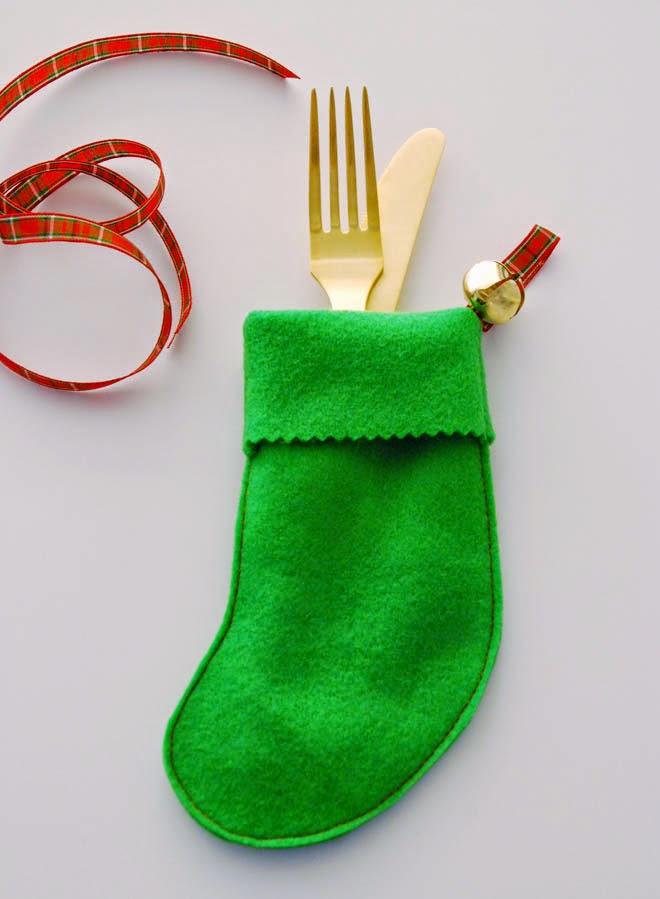 felt mini stocking cutlery holder