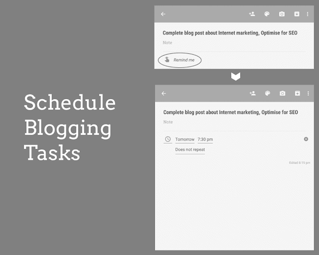 Schedule Blogging tasks Google keep productivity tips