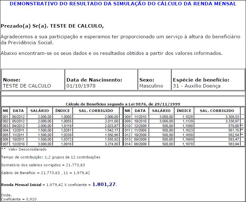 Simulação de renda mensal do auxílio-doença