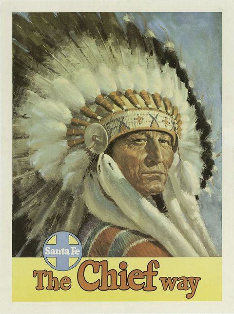 classic posters, free download, graphic design, retro prints, skiing, sports, travel, travel posters, vintage, vintage posters, Santa Fe, The Chief Way - Vintage Travel Poster