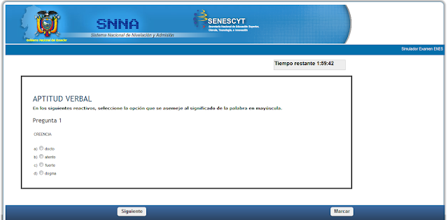 Simulador de ENES, Senescyt. Modelo de prueba de aptitud.