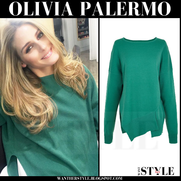 Olivia Palermo in green Tibi sweater what she wore january 2016