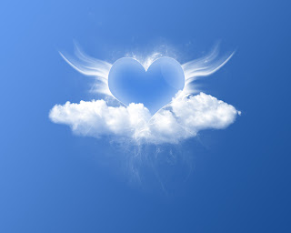 Blue Heart with Wings Love Wallpaper