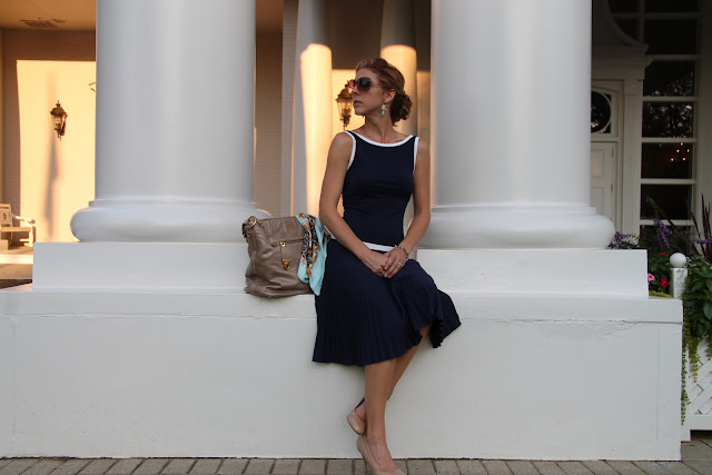 Cigi Guz/V. Vill dress, Prada Purse, Blinde Sunglasses, Steve Madden Pumps, H&M Scarf