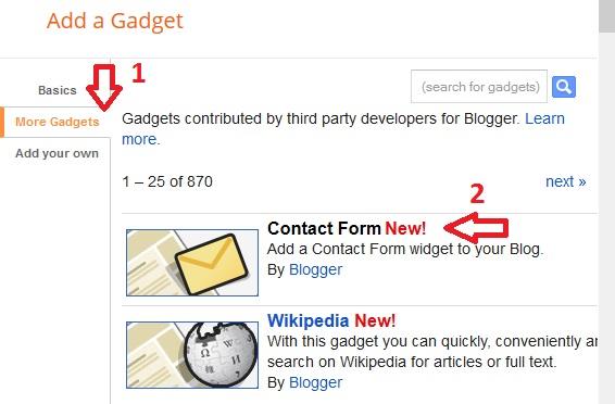 cara menampilkan kontak di blogger, memasang contact di siderbar blogspot, menampilkan dan memasang form kontak di blogger
