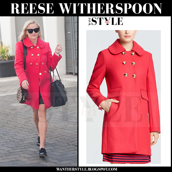 Reese Witherspoon in red gold button coat draper james lucinda what she wore streetstyle