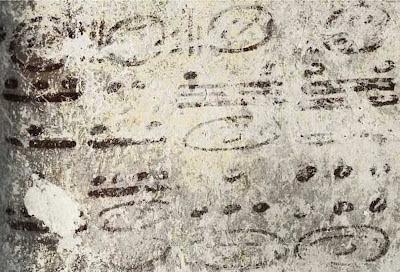 Detalhe do calendário maia de Xultún